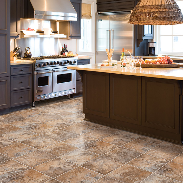 Cushion vinyl flooring mannington slate grand cayman for Vinyl floor ideas for kitchen