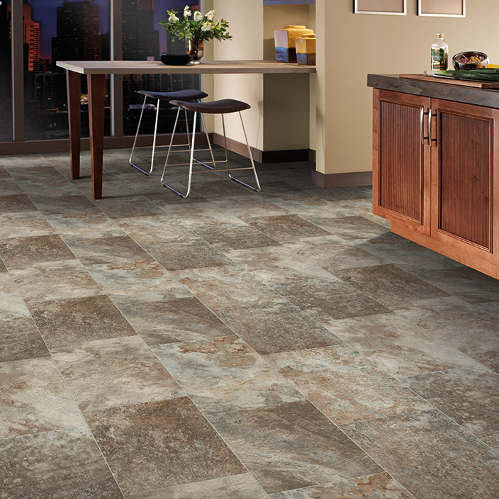 Cushion vinyl flooring mannington slate colorado for Vinyl cushion flooring for kitchens